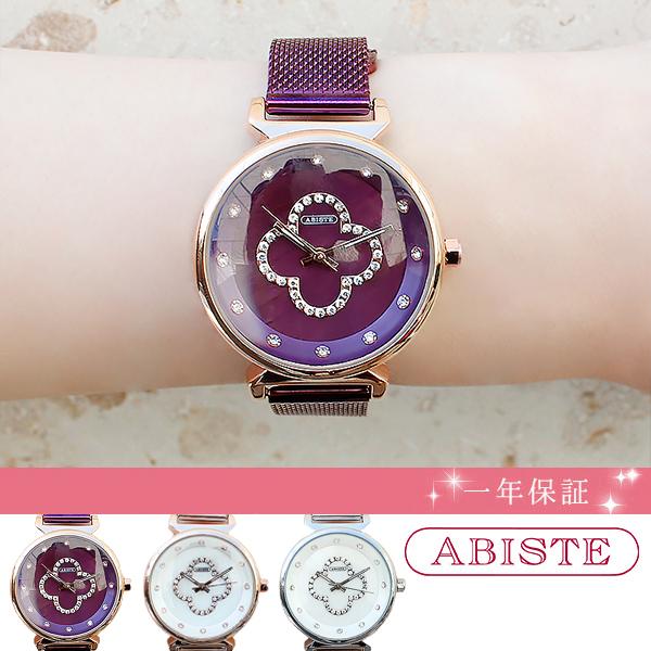 ABISTE(アビステ) ラウンドフェイスクローバーメッシュベルト腕時計 9020016レディース 女性 人気 雑誌 大人 おしゃれ 腕時計 ブランド ギフト ウォッチ ラッピング無料 20代 30代 40代