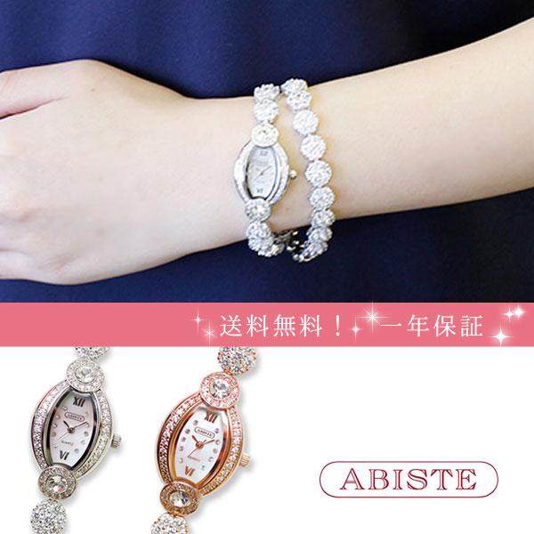 ABISTE(アビステ) トノーフェイスジルコニアクリスタル2連ブレスレット腕時計 9170004 レディース 女性 人気 雑誌 大人 おしゃれ 腕時計 ブランド ギフト ウォッチ ラッピング無料 30代 40代