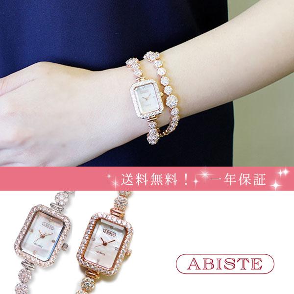ABISTE(アビステ) スクエアフェイスジルコニアクリスタル2連ブレスレット腕時計 9170005 レディース 女性 人気 雑誌 大人 おしゃれ 腕時計 ブランド ギフト ウォッチ ラッピング無料 30代 40代