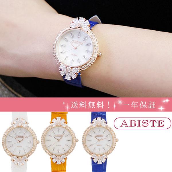 ABISTE(アビステ) ラウンド型ビッグフェイスフラワークリスタル型押しベルト腕時計 9170024 レディース 女性 人気 雑誌 大人 おしゃれ 腕時計 ブランド ギフト ウォッチ ラッピング無料 30代 40代