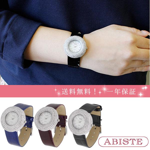 ABISTE(アビステ) パヴェクリスタルラウンドフェイスエナメルベルト腕時計 9171008 レディース 女性 人気 雑誌 大人 おしゃれ 腕時計 ブランド ギフト ウォッチ ラッピング無料 30代 40代