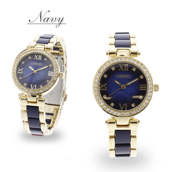 ABISTE(アビステ) ラウンドフェイスクリスタルガラス腕時計 9180033 レディース 女性 人気 雑誌 大人 おしゃれ 腕時計 ブランド ギフト  ウォッチ ラッピング無料 30代 40代