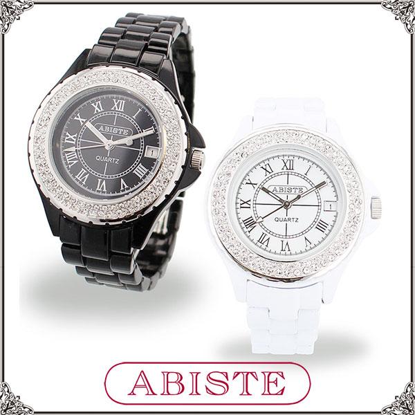 【送料無料】ABISTE(アビステ)キラキラベルト時計/ホワイト、ブラック 9600082S レディース 女性 人気 上品 大人 かわいい おしゃれ アクセサリー ブランド 誕生日 ギフト プレゼント ラッピング無料 腕時計 ウォッチ