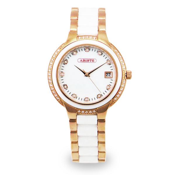 【送料無料】ABISTE(アビステ) セラミックベルト時計/ホワイト 9400017P/W レディース 女性 人気 上品 大人 かわいい おしゃれ アクセサリー ブランド 誕生日 ギフト プレゼント ラッピング無料 腕時計 ウォッチ