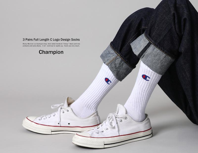 CHAMPION 3 Pair Set Socks Full Length Unisex Mens Womens Assort CMSCH002 Casual