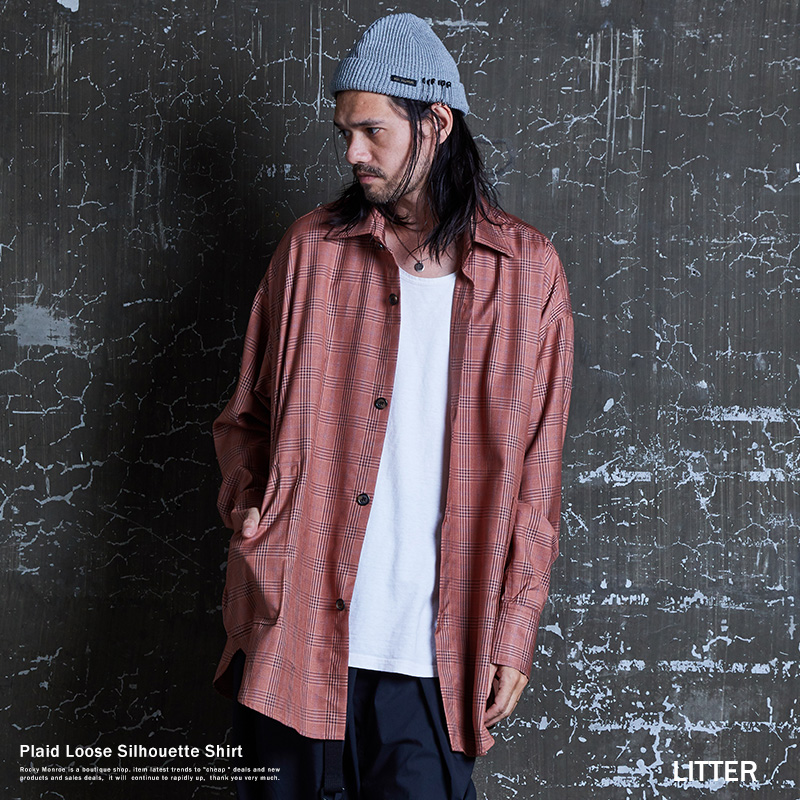 シャツ シャツジャケット メンズ チェック スーツ生地 TR素材 光沢感 ビッグシルエット オーバーサイズ ルーズ ロング アーバン 長袖 LITTER リッター 9475