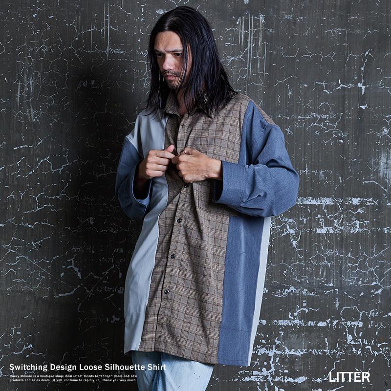 シャツ シャツジャケット メンズ チェック ストライプ 切替 カッティング ビッグシルエット オーバーサイズ ルーズ ロング 長袖 LITTER リッター 9476
