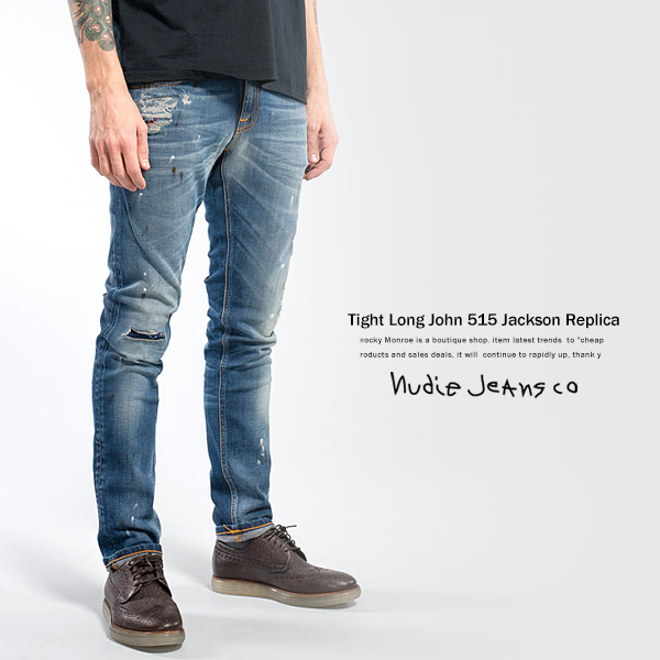 Nudie jeans Nudie Jeans TIGHT LONG JOHN JACKSON REPLICA USED processing stretch denim 111883 4836