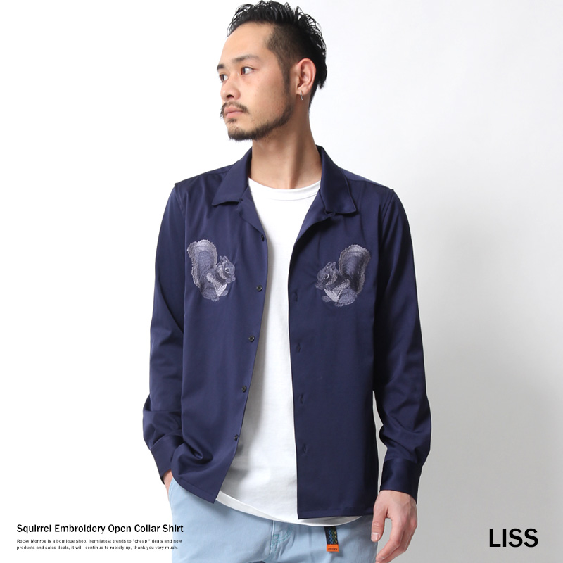 6332f29f3076 Open collar shirt wing-collared shirt men embroidery long sleeves satin  stretch LISS squirrel Lis-611454 7056
