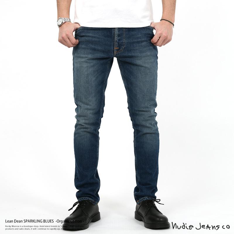 Nudie Jeans ヌーディージーンズ Lean Dean SPARKLING BLUES 882 112632 デニム メンズ ジーンズ テーパード オーガニックコットン ストレッチ タイト ウォッシュ ジップフライ 12オンス 7992