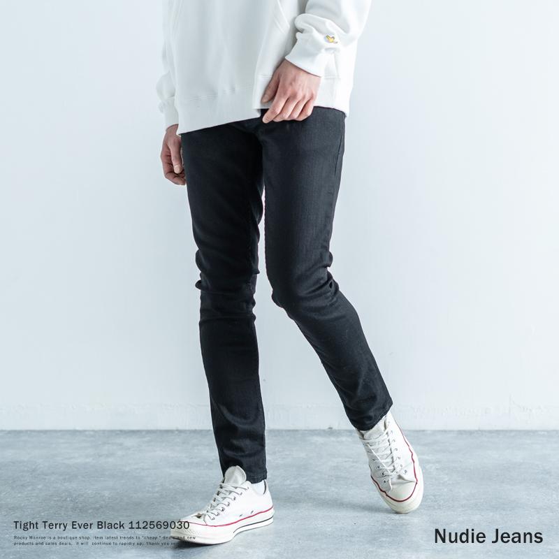 Nudie Jeans ヌーディージーンズ Tight Terry Ever Black デニムパンツ ジーンズ メンズ スキニーフィット タイト スリム ストレッチ 伸縮性 細身 オーガニックコットン 綿 ブラック 黒 テーパード カジュアル 112569030 9287
