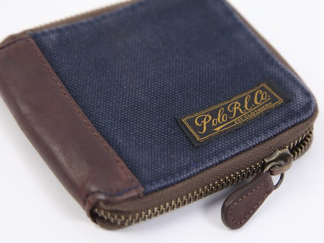 POLO Ralph Lauren CANVAS ZIP WALLET US Polo Ralph Lauren canvas leather wallet purse