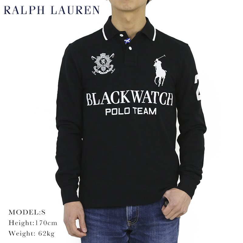 ポロ ラルフローレン コットン 鹿の子 ブラックウォッチ ビッグポニー カスタムフィット 長袖ポロシャツ POLO Ralph Lauren Men's