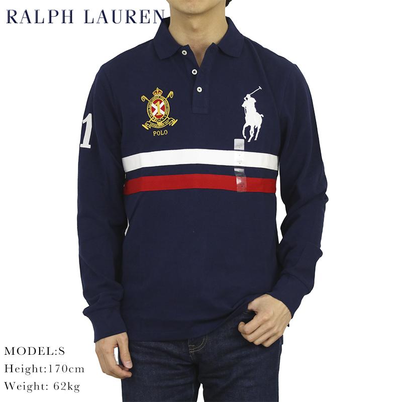 ポロ ラルフローレン カスタムスリムフィット 鹿の子 ビッグポニー 長袖ポロシャツ POLO Ralph Lauren Men's Cotton CUSTOM SLIM FIT Mesh l/s Polo Shirt US