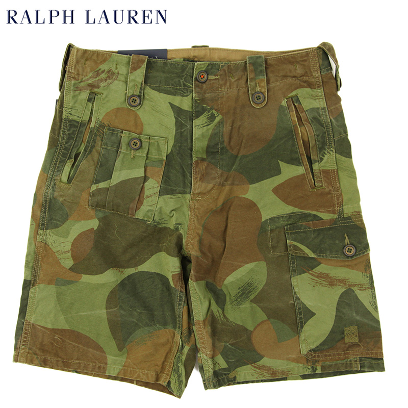 直送商品 ラルフローレンの定番 迷彩カーゴショーツ Ralph Lauren Men's Camo Print マート Canvas 半ズボン US ポロ カーゴショーツ ラルフローレン ショートパンツ Cargo Shorts