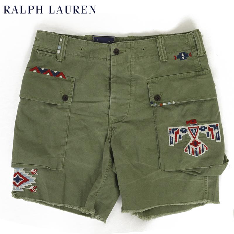 ポロ ラルフローレン ビンテージ加工 ヘリンボーンミリタリー ショートパンツ 半ズボン POLO Ralph Lauren Men's RELAXED FIT Vintage Military Short US
