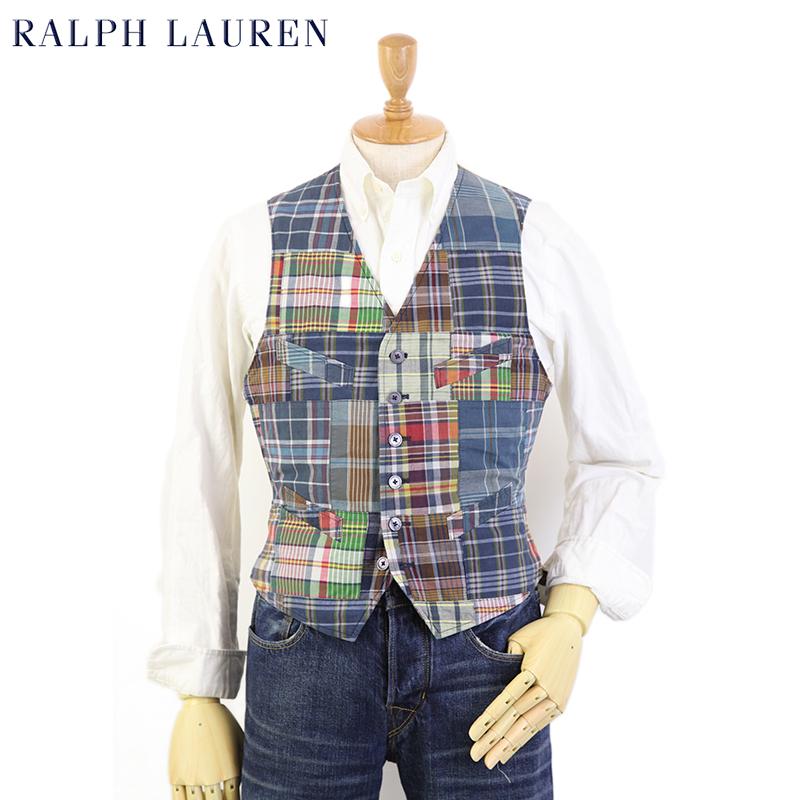 "POLO by Ralph Lauren Men's ""India Madras"" Patchwork Vest USポロ ラルフローレン パッチワーク マドラスチェック ベスト"