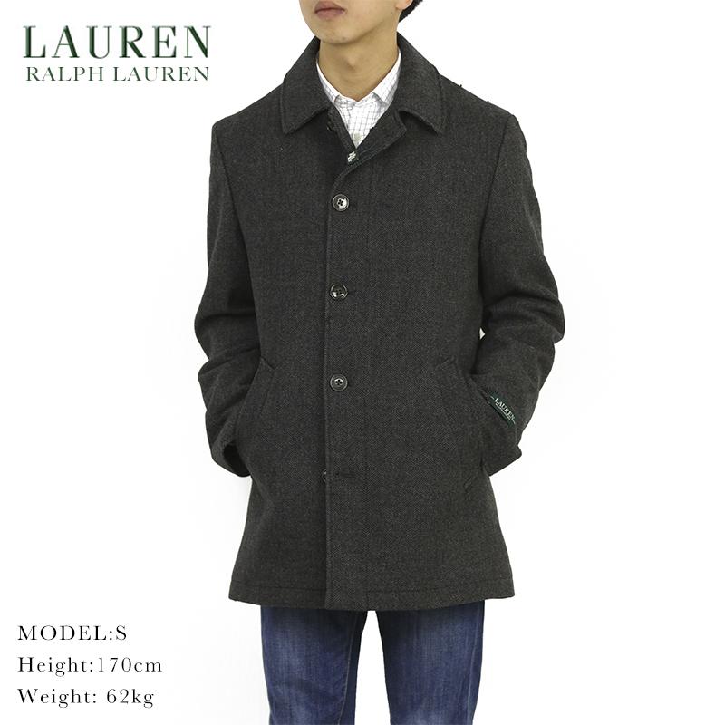 LAUREN by Ralph Lauren Men's Melton Overcoat US ローレン ラルフローレン ヘリンボーン ウール カーコート オーバーコート