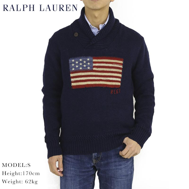 ポロ ラルフローレン フラッグ(国旗) ショールカラー セーターRalph Lauren Men's