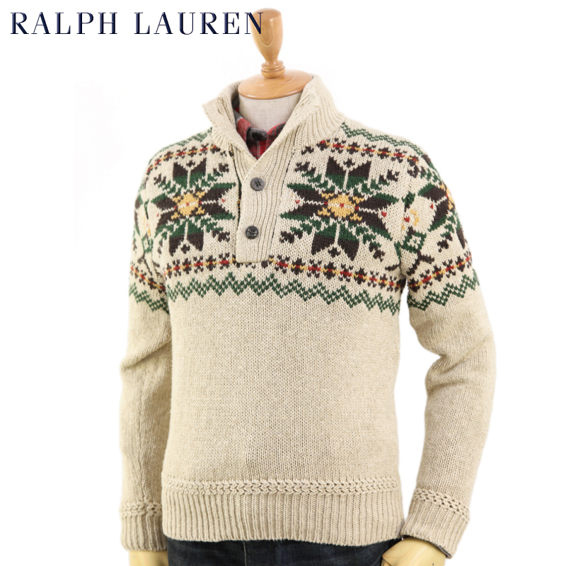 Ralph Lauren Men's Snowflake Mockneck Sweater US ポロ ラルフローレン 雪柄セーター