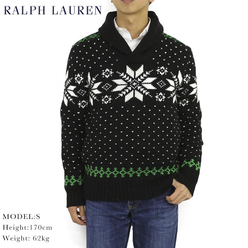 安全 Ralph Laurenコットンカシミアのショールカラーセーター Lauren Men's Snowflake Shawl ショールカラー US ポロ ラルフローレン Sweater セーター 受賞店