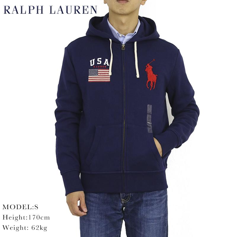 ポロ ラルフローレン ジップアップスウェットパーカー アメリカ国旗 ビッグポニー フーディーPOLO Ralph Lauren Men's