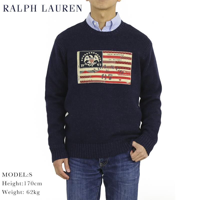ポロ ラルフローレン フラッグ(アメリカ国旗)クルーネックカラー セーター POLO Ralph Lauren Men's