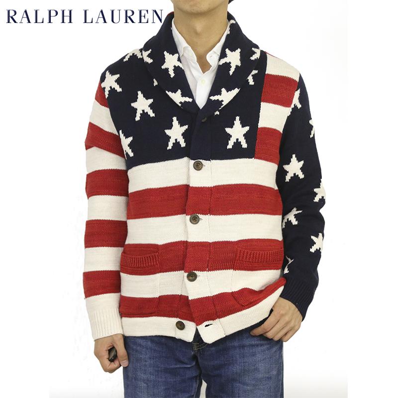 ポロ ラルフローレン アメリカ国旗 ショールカラー カーディガン POLO Ralph Lauren American Flag Men's Cotton/Linen/Silk/Cashmere Shawl Collar Cardigan US