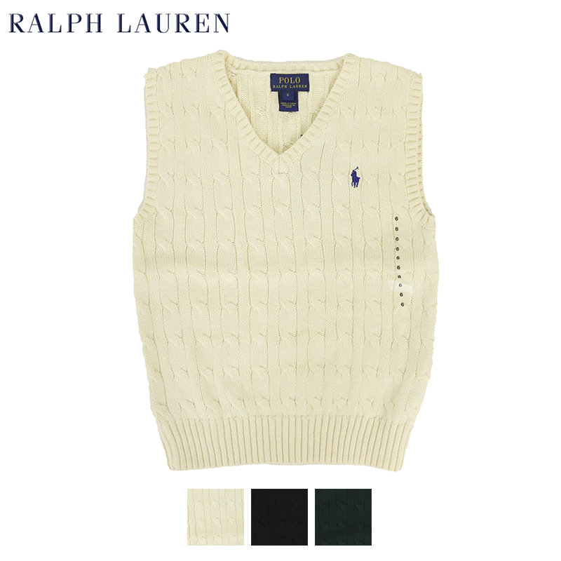 USボーイズサイズのVネックコットンニットベスト TODDLER ラッピング無料 Ralph Lauren Boy's 2-7 Cotton ニットベスト V-neck ボーイズ ラルフローレン Vest Sweater トレンド