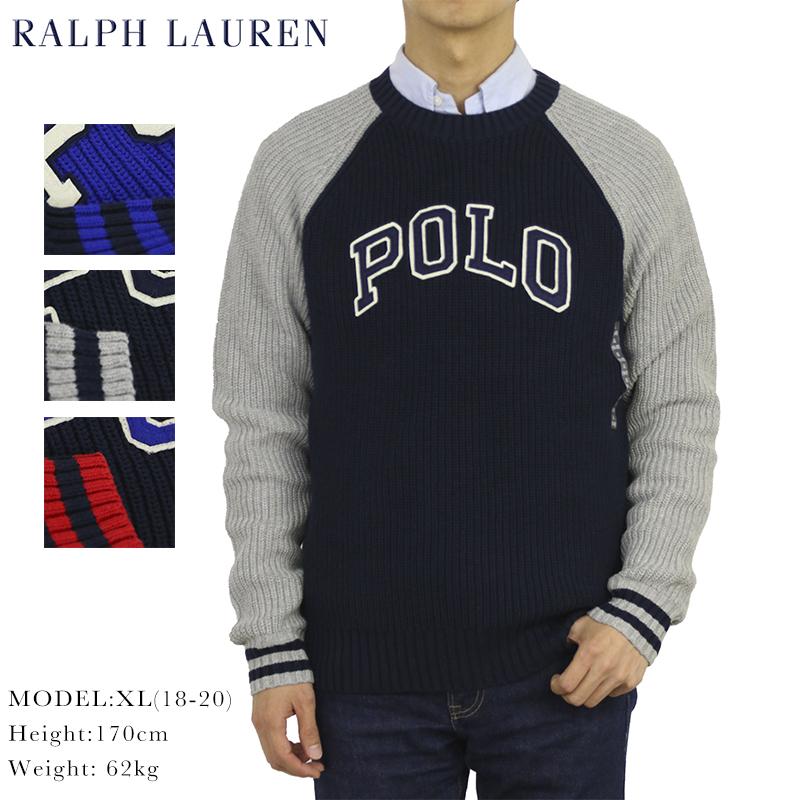 USボーイズサイズのクルーネックセーター ポロ ラルフローレン ボーイズ コットン 品質保証 ニット ラグランスリーブ クルーネックセーター Crew Boy's Ralph