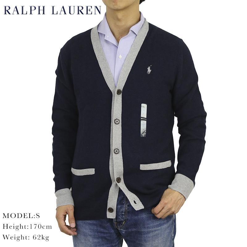ラルフローレンPIMA COTTON100%のVネックセーターカーディガン ポロ ラルフローレン メンズ ピーマ綿 カーディガン Polo US 直営ストア Lauren Cardigan Men's Sweater