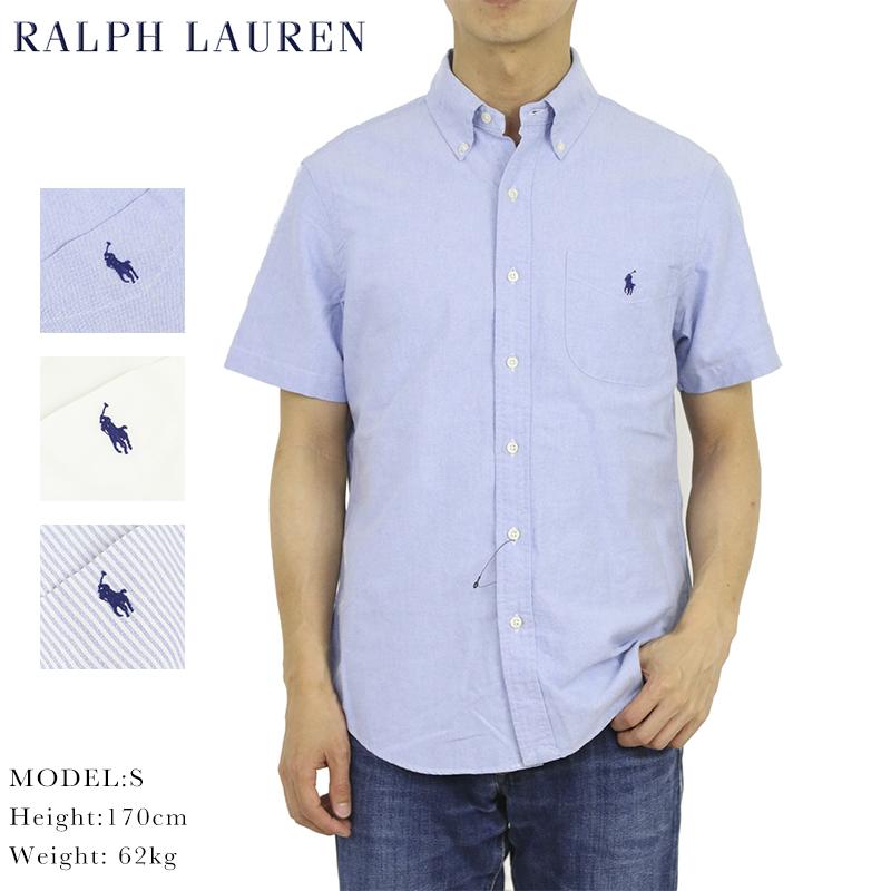 (UPS) Ralph Lauren Indigo STANDARD FIT S/ キャンバス ボタンダウン S B.D. Shirts US スタンダードフィット 半袖シャツ ポロ インディゴ ラルフローレン
