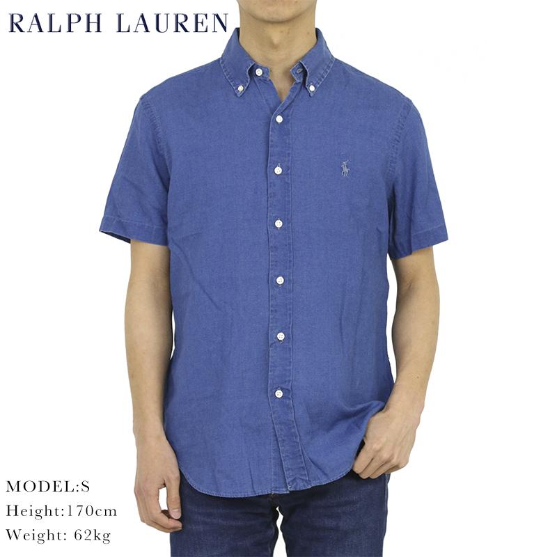 ポロ ラルフローレン ビンテージ加工 インディゴ ボタンダウン 半袖シャツ POLO Ralph Lauren
