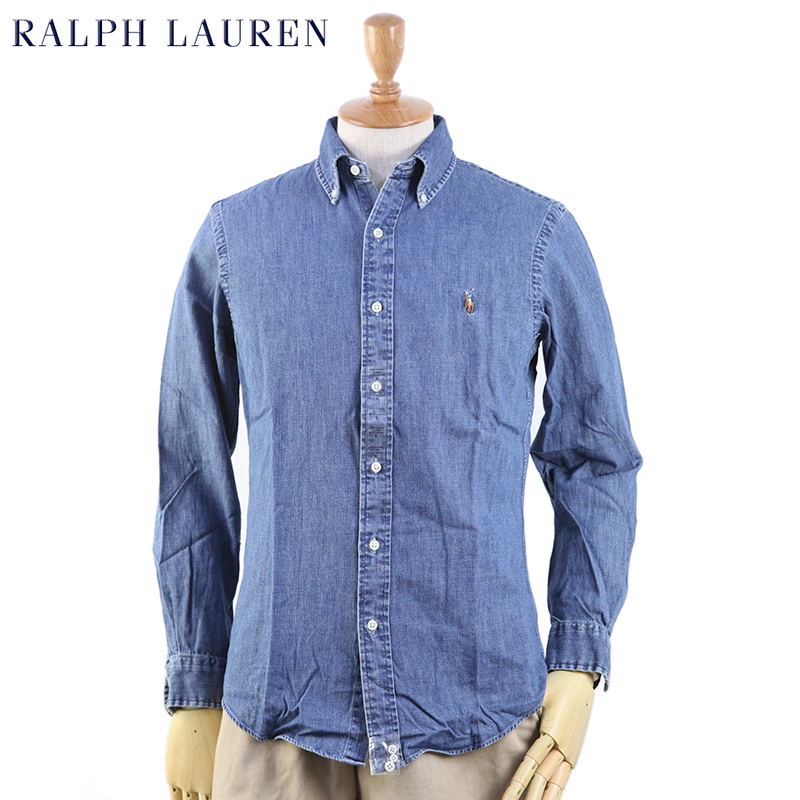 7a18ce2059 Product description. Ralph Lauren Ralph Lauren long-sleeved denim shirt. CUSTOM  FIT ...