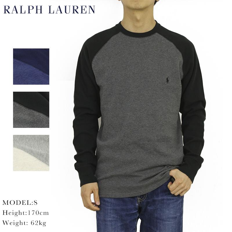 USラルフローレン クルーネック長袖Tシャツ ポロ ラルフローレン メンズ 無地 ワッフルサーマル 長袖Tシャツ ワンポイント POLO l Lauren Crew 毎週更新 WAffle Men's s 市販 T-shirts Ralph US