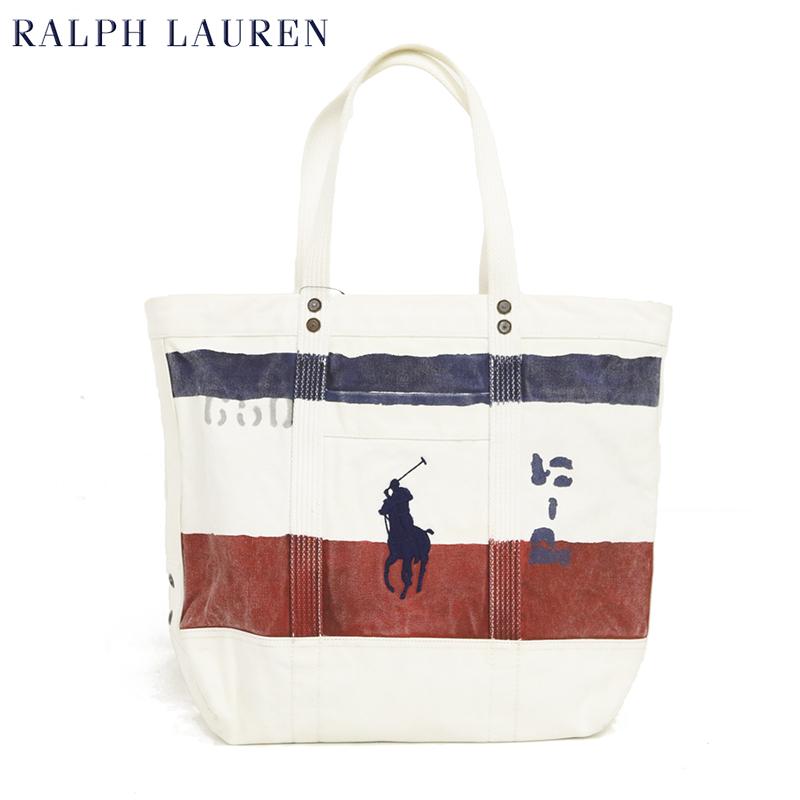 ポロ ラルフローレン メンズ ビッグポニー刺繍 キャンバス トートバッグPOLO Ralph Lauren Painted Canvas BIG PONY Tote US