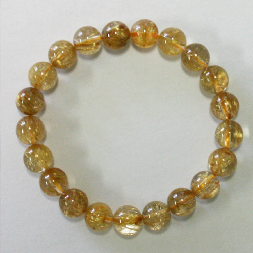 Rutile quartz bracelet (gold rutilated quartz power stone, 10mm ball)