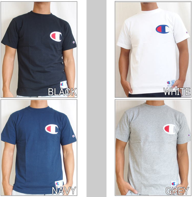 ab925d751 Big logo tee shirts in stock from champion! Placed C embroidery on left  chest and left sleeve to C patch, left hem to jog tag design.