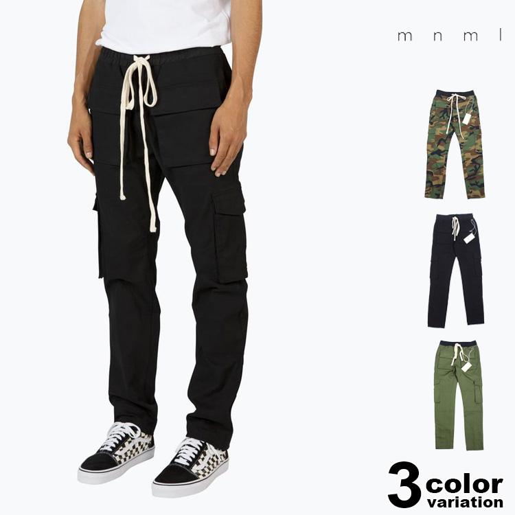 mnml ミニマル カーゴパンツ SNAP CARGO PANTS (mnml カーゴパンツ メンズ パンツ ストリート S/M/L ブラック オリーブ 迷彩 ストレッチ ) 【あす楽対応】