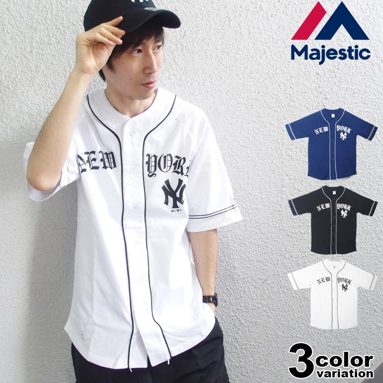 majestic マジェスティック ベースボールシャツ 半袖 メンズ NEWYORK YANKEES [MM21-NYK-8S05]【あす楽対応】