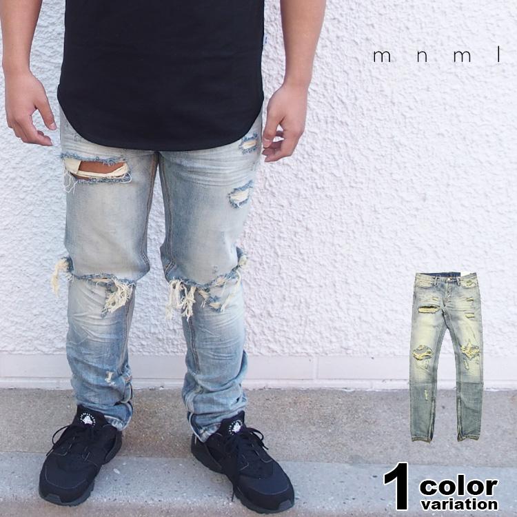 mnml ミニマル デニム パンツ クラッシュデニム サイドジップ ダメージジーンズ M1 DENIM VINTAGE 17ML-SP211D
