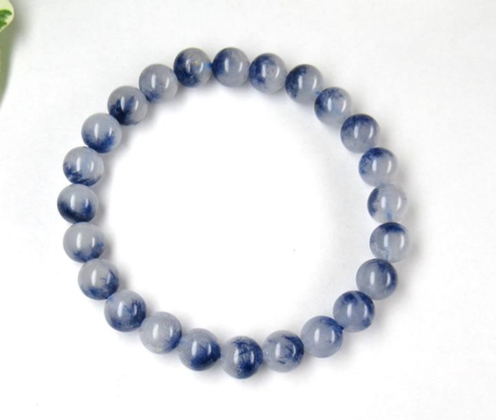 AAA+デュモルティエライトinクォーツ ブレスレット7.5mm 青く美しい内包物がくっきり!サイキック能力と高次のマインド 精神的飛躍 bdumoin015