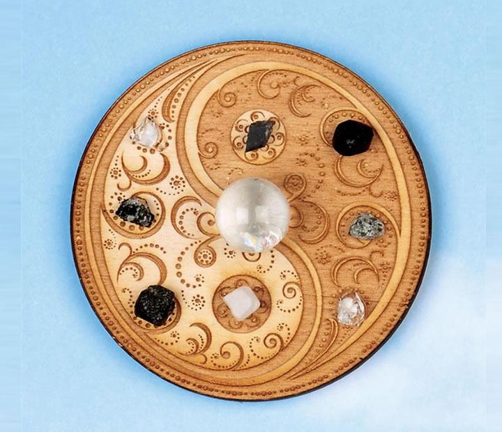 マンダラ クリスタルグリッド H&E社 ポラリティハーモニー 直径7 接着材固定タイプ トランセンデンス 内的な統合  cg014