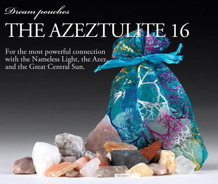 【ポイント5倍+5%OFFクーポン】ドリームポーチH&E社 アゼツライト16(すべてアゾゼオ) 中身の様子とそれぞれの石名がわかる グリッドや持ち歩きのお守りに syd015