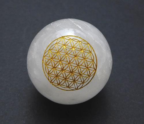 アゾゼオアゼツライト25mmスフィア/フラワーオブライフ/神聖幾何学図形 H&E社 天然石 パワーストーン zsaz25f001