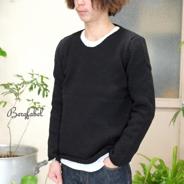 Bergfabel(バーグファベル)/ Crew Neck P/O Hand Made Knit -BLACK-