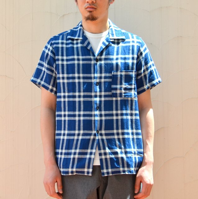 WHITE LINE(ホワイトライン)/WL Indigo Check Open Collar S/S Shirt -blue black-