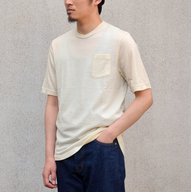 FLISTFIA(フリストフィア)/Washable Wool T-shirt-Cream-
