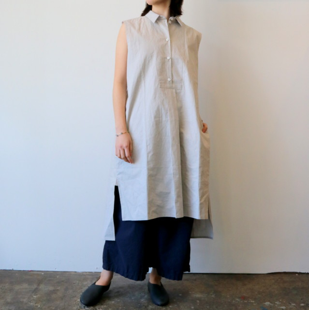 CABINET(キャビネット)/smock dress sleeve less coated linen