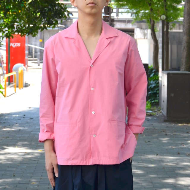 STUDIO NICHOLSON(スタジオニコルソン)/ OPEN COLLAR BOX SHIRT -SUGAR PINK-